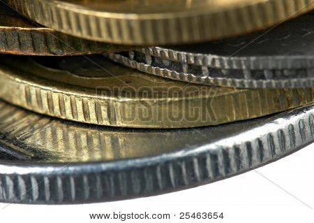 Super Macro Close Up Of Pile Of Mixed Coins
