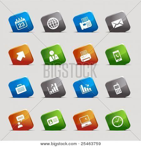 Corte quadrados - ícones de escritório e negócios
