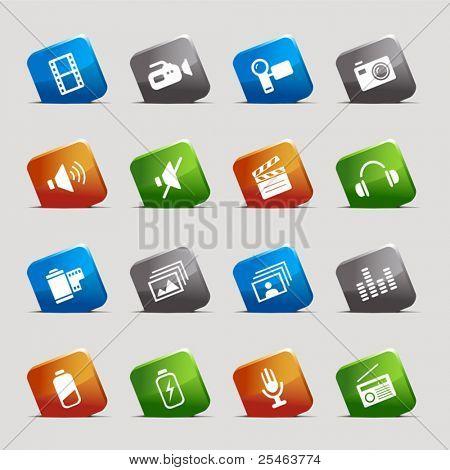 Schneiden Sie Quadrate Media icons