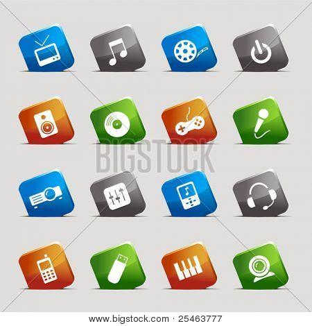 Schneiden Sie Quadrate - Media Icons
