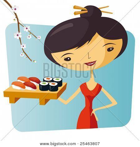 Sushi and maki waitress