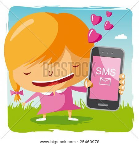 girl in love and mobile phone