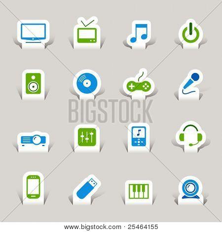 Corte de papel - los iconos de los medios de comunicación