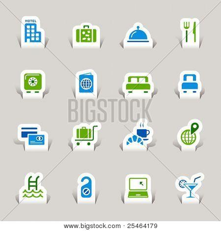 Corte de papel - ícones do Hotel