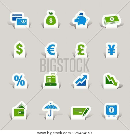 Scherenschnitt - Finance-Symbole