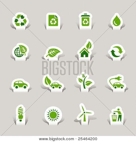 Corte de papel - ícones ecológicos