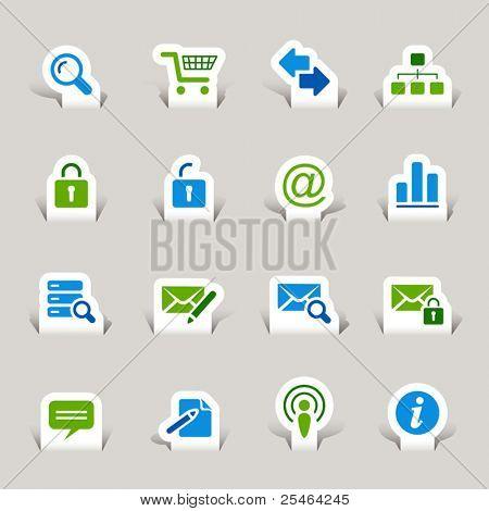 Corte de papel - site e ícones da Internet