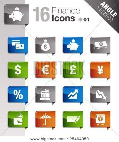 Ángulo pegatinas - los iconos de finanzas