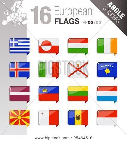 Winkel-Sticker - Europäische Flaggen