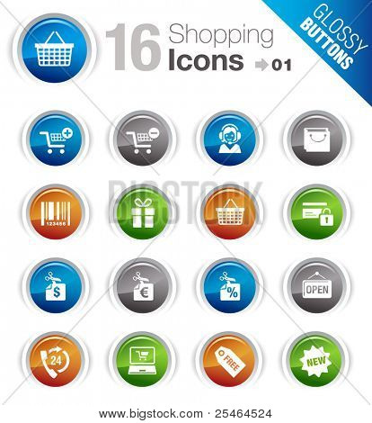 Glossy Buttons - Shopping Symbole
