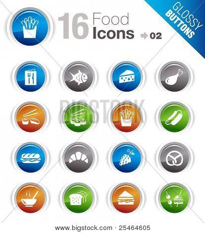 Botones brillante - los iconos de alimentos