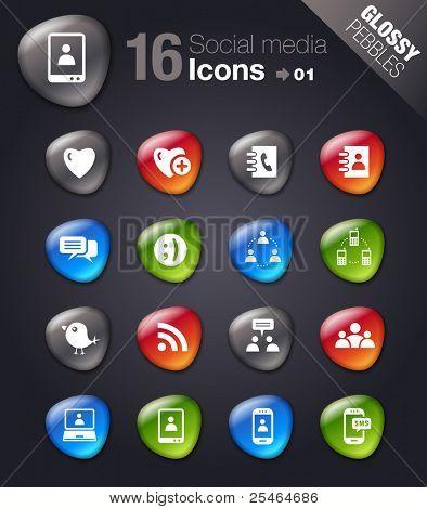 Glossy Pebbles - Social media icons