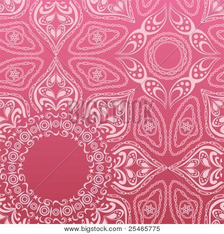Pink mandala pattern. Illustration vector.