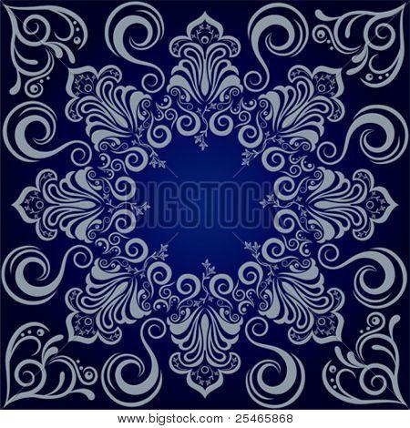 Mandala blue background. Illustration vector.