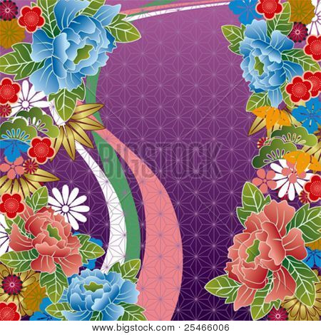 Japanese traditional floral pattern. Illustration vector.
