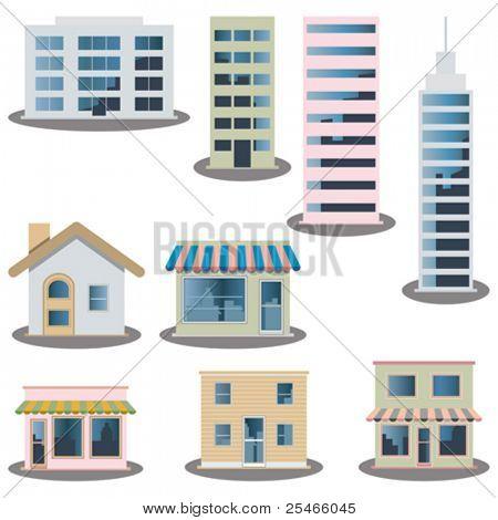 Edificio los iconos set. Imagen de arquitecturas
