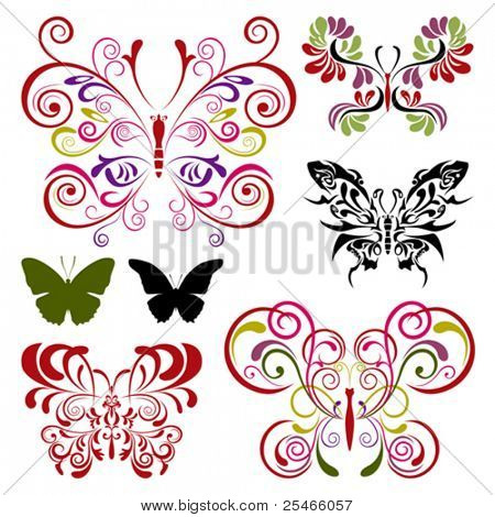 Butterfly elements set. Illustration vector..