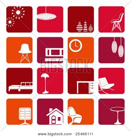 Interior Red Ornaments set. Illustration vector.