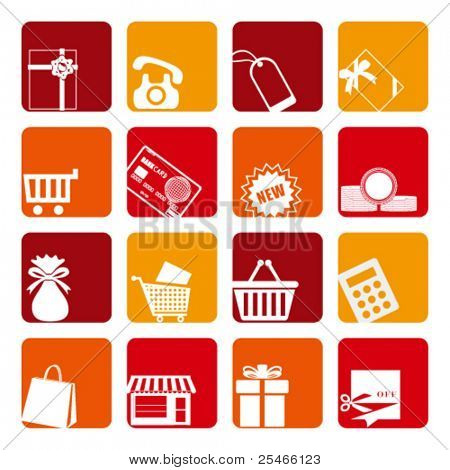 Ornamentos de compras definido. Vetor de ilustração.