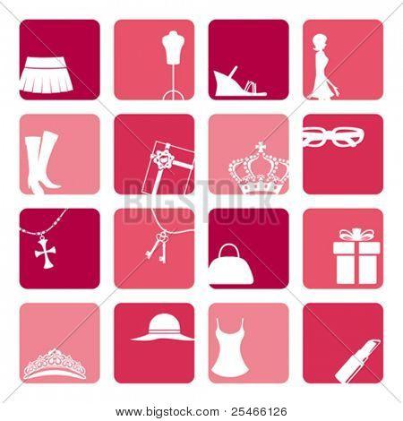 Conjunto de iconos de la moda de chicas