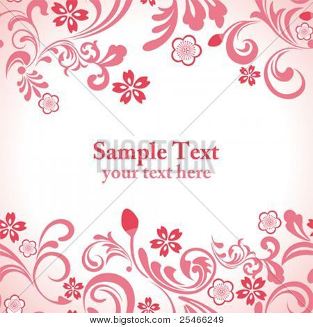 Seamless pink cherry blossom frame. Illustration vector.