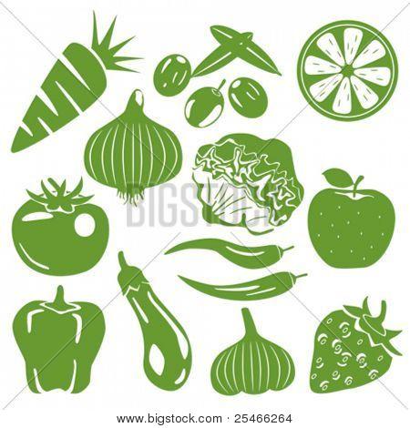 Foodstuff green icons set. Illustration vector.