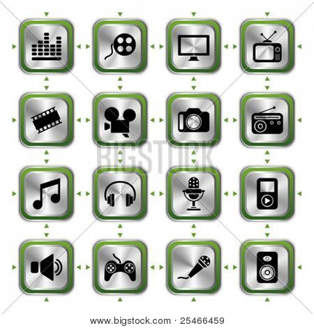 Multimedias icons set HL. Vector de ilustración