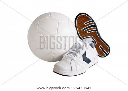 Sport leather shoes and ball, isolated, clipping path included