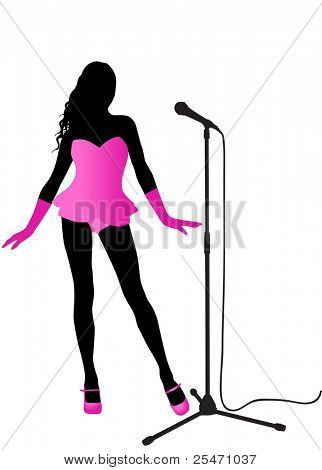 Silhouette of a singer with the microphone stand