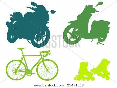 Motorcycle, scooter, bicycle and roller skates silhouettes