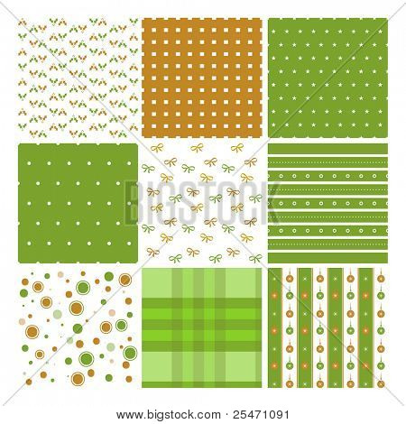 Nine vector seamless patterns for Christmas