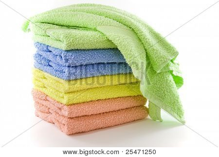 Stack of soft colorful towels