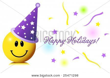 Cute smiley wishing you happy holidays