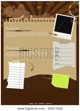 Plantilla sitio web Grunge, vector, elementos editables