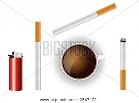 Illustration of a cigarettes, lighter and cup with black coffee.
