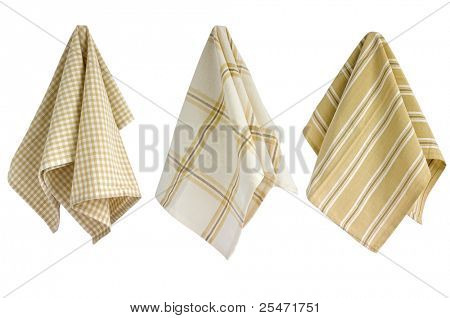 Three colorful cotton kitchen towels, clipping path included