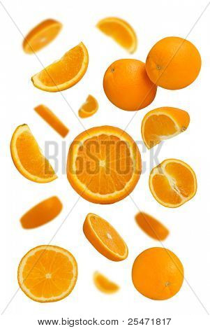 Many fresh juicy oranges on white background