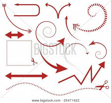 Vector set of arrows and scissors with cut lines