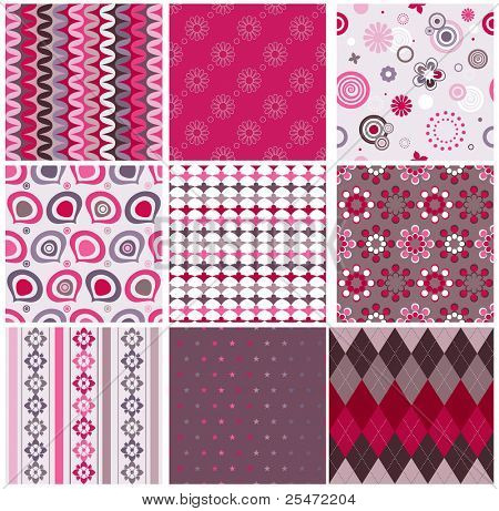 Vector Set von neun bunten seamless pattern