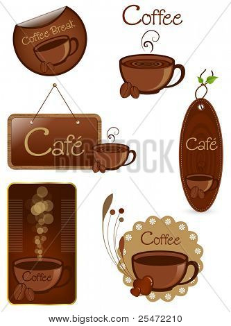 Coffee vector set, various coffee inspired elements