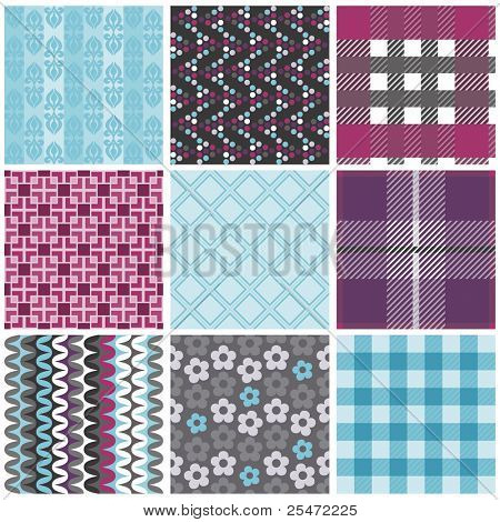 Vector set of nine seamless pattern