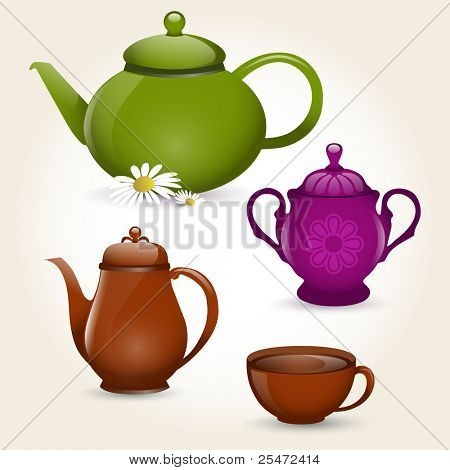 Illustration of isolated coffee set or tea set