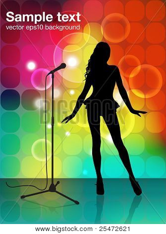 Abstract music background with singer and microphone