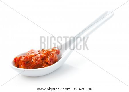 Spoon of ajvar, a delicious roasted red pepper and eggplant dish
