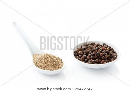 Ground black pepper and peppercorns