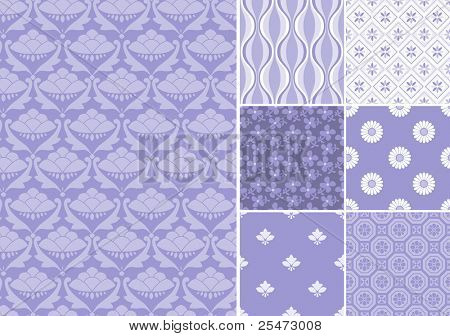 "Collection of seamless patterns in lavender color.All design are seamless and ""pattern swatches"" included in file, for your convenient use."