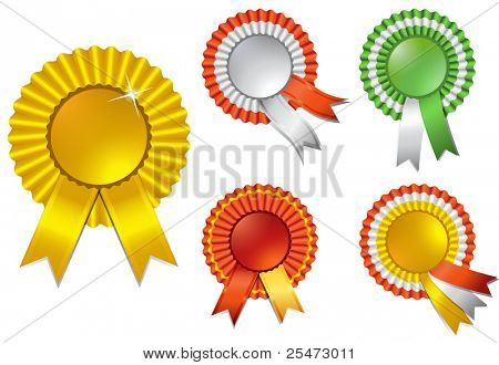Shiny ribbon rosette awards, illustration