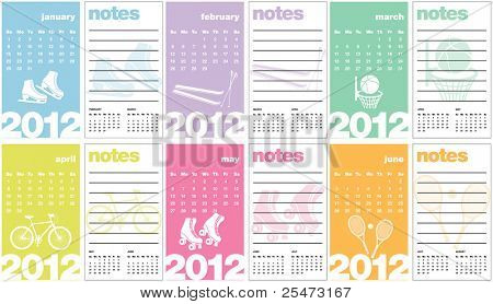 Sports Calendar 2012 (Business Card Sized) with notes