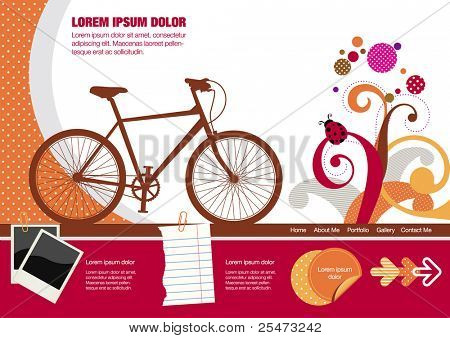 Colorful website template,  spring design elements