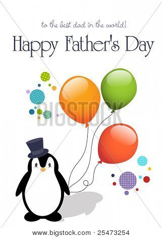 Happy father's day card, with a cute penguin and balloons